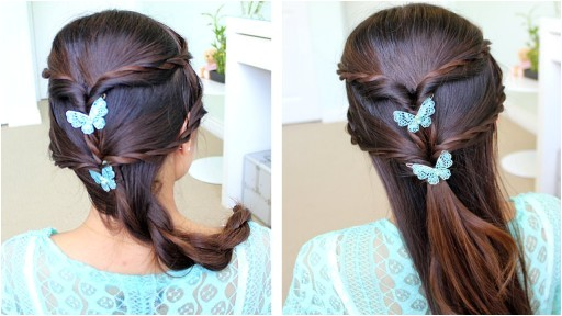 how to do fancy rope braid half updo hairstyle for medium long hair step by step diy tutorial instructions