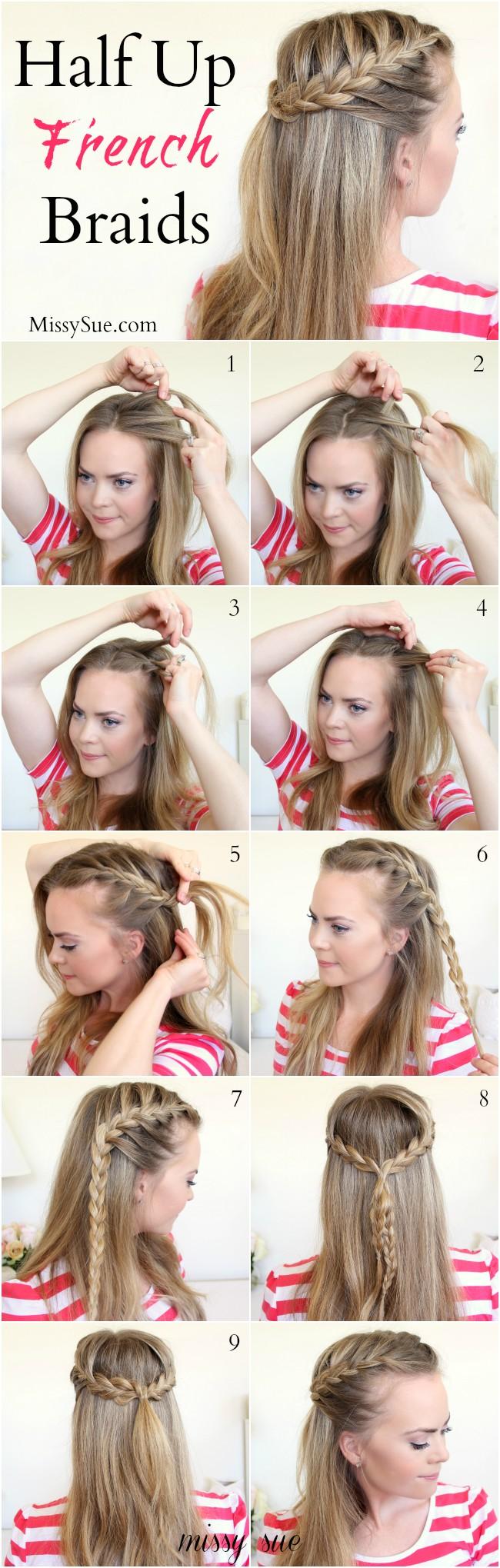braid 11 half up french braids