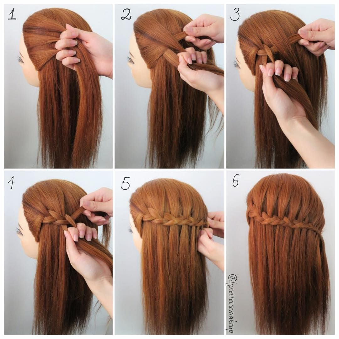 """""""Three Strand Waterfall Braids❤ Check out the steps below 1 Divide into 3 equal section 2 Cross left section on the middle section then cross right…"""""""