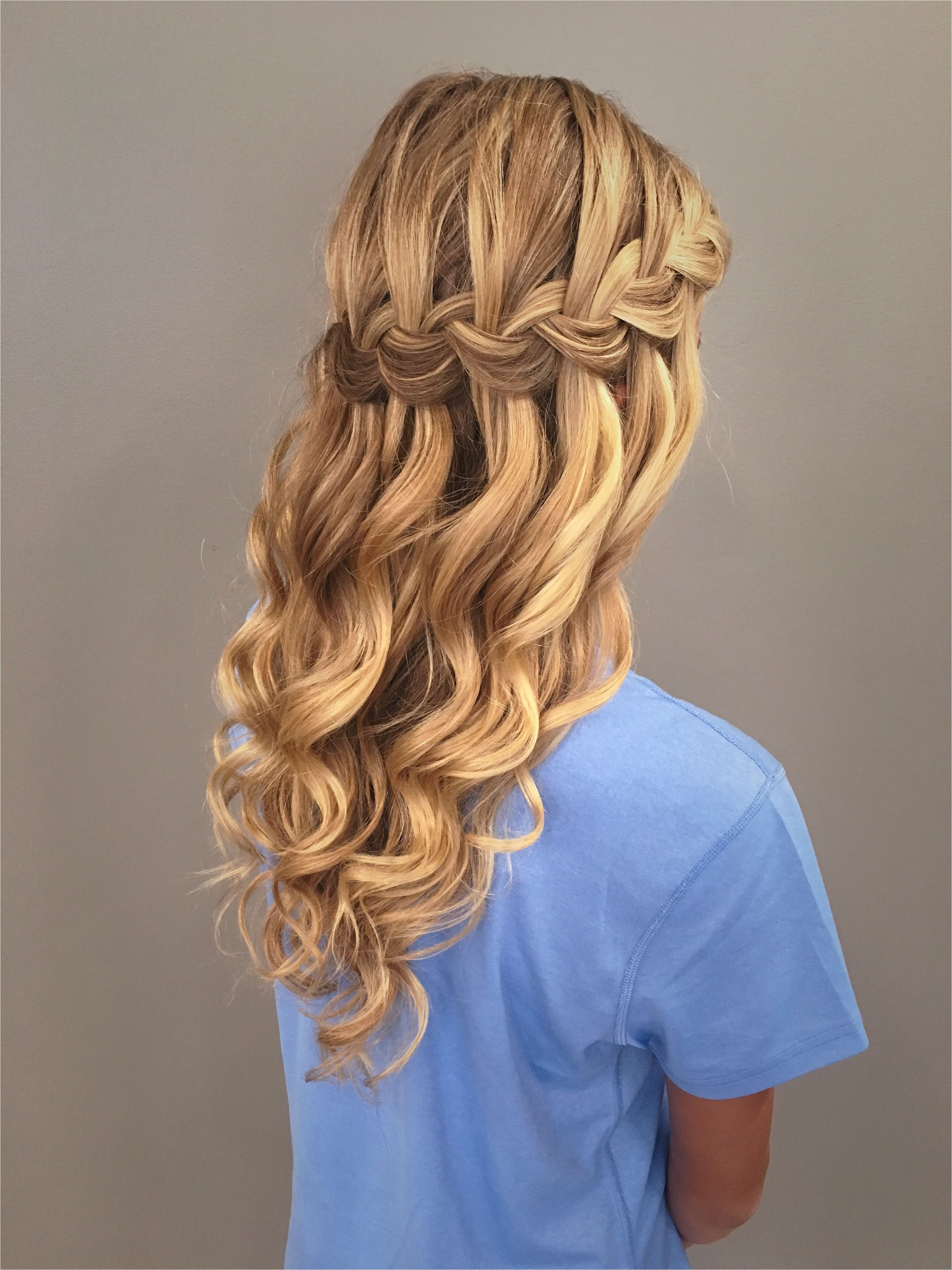 Waterfall braid with mermaid waves Great bridal prom or home ing hairstyle