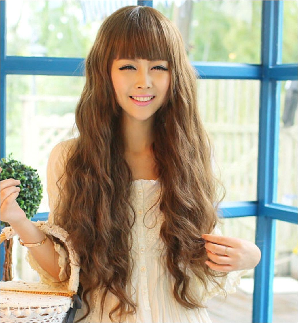 Long Curly Girls Korean Style Wig Holiday Party Graduation Causal Wear Kawaii Hair Adjustable Hairpiece Girlish Hairstyle Bangs Housewarming by 395six7 on