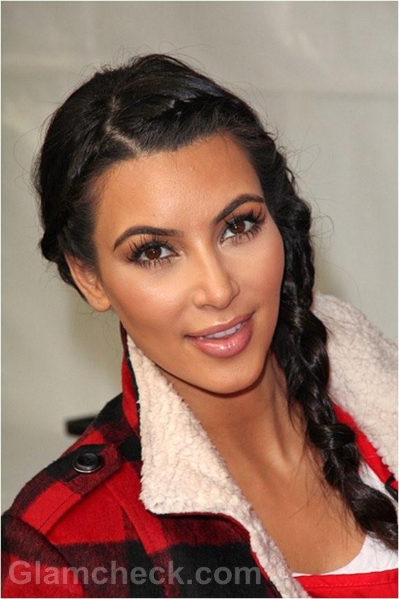 kim kardashian sports milkmaid braids for thanksgiving