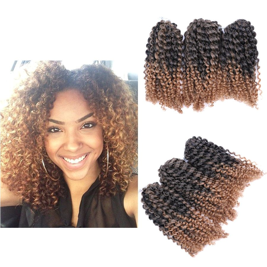 "Crochet Styles Hair Inspirational 8"" Ombre Afro Kinky Curly Crochet Braids Marlybob Braid Hair"