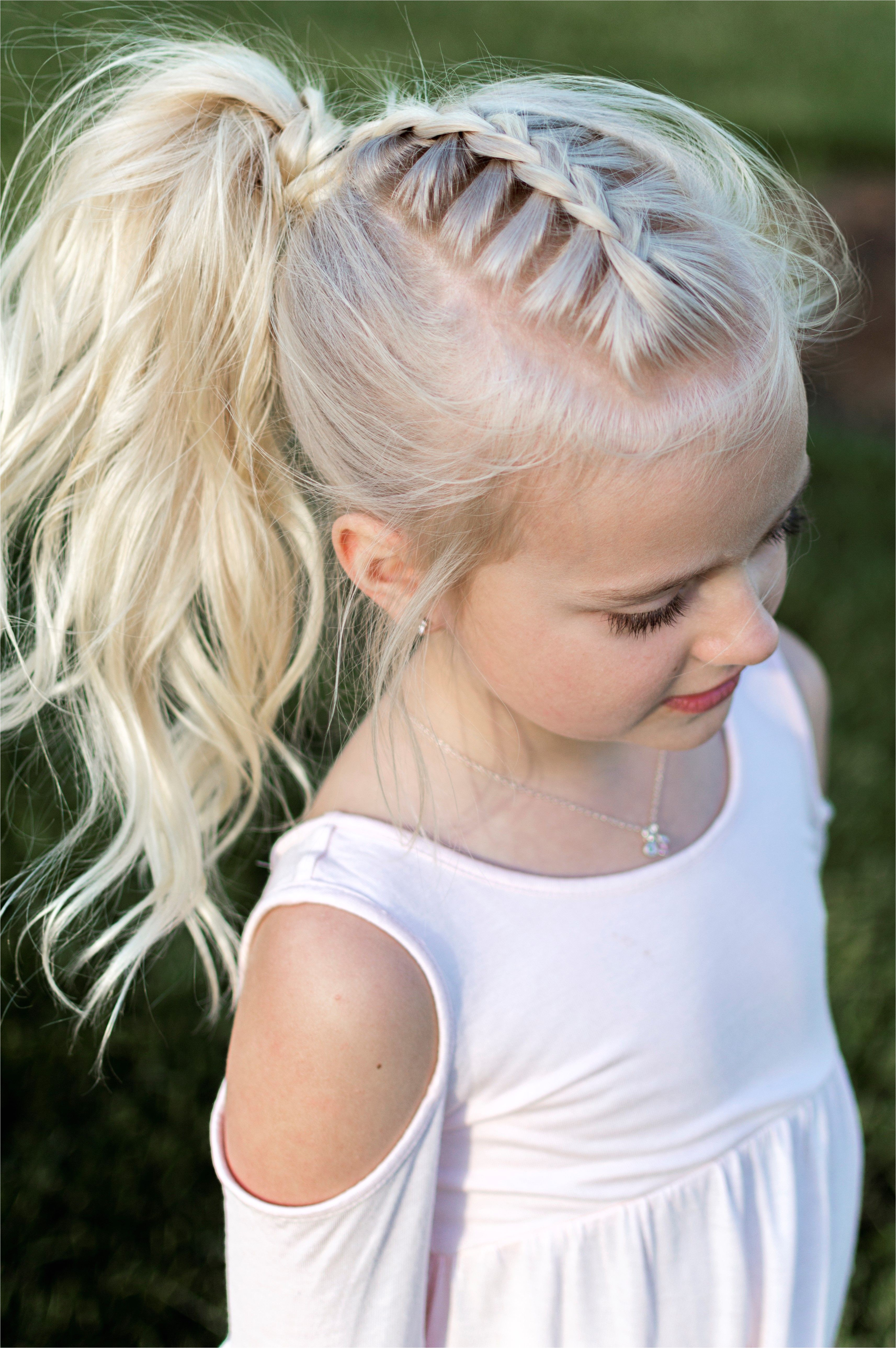 Hairstyles for Girls for Wedding Beautiful Little Girl Hairstyle French Braid Pony Tail Curls High Pony