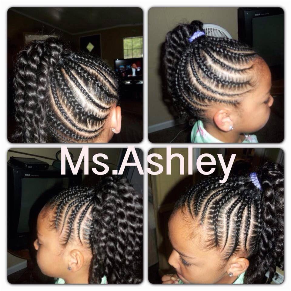 Little girl cornrow twist ponytail hairstyle