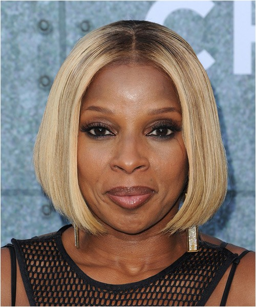 Mary J Blige smooth blow waved blonde bob hairstyle