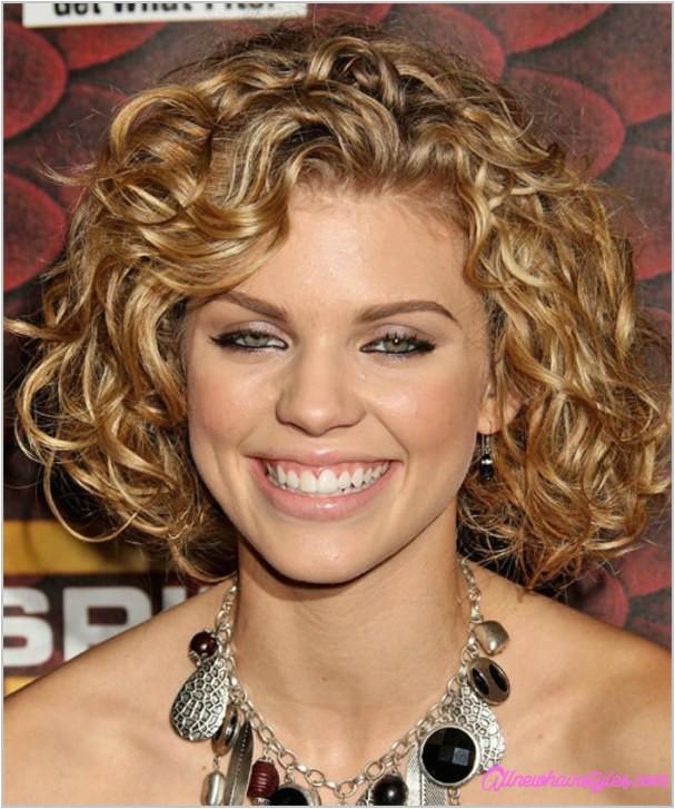 medium curly haircut round face