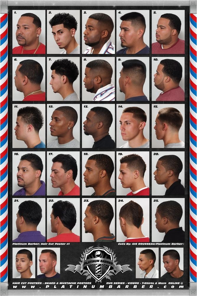the barber hairstyle guide poster for black men