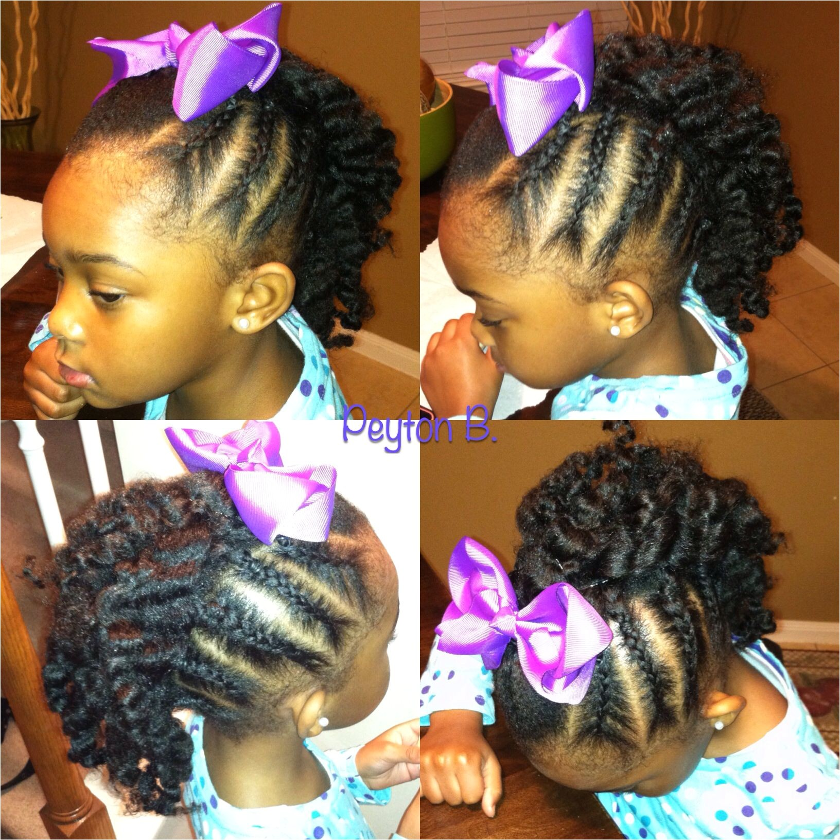 Braided Mohawk with braidout in the middle Natural hairstyles for kids
