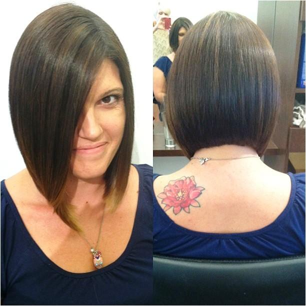 graduated bob haircut front and back views