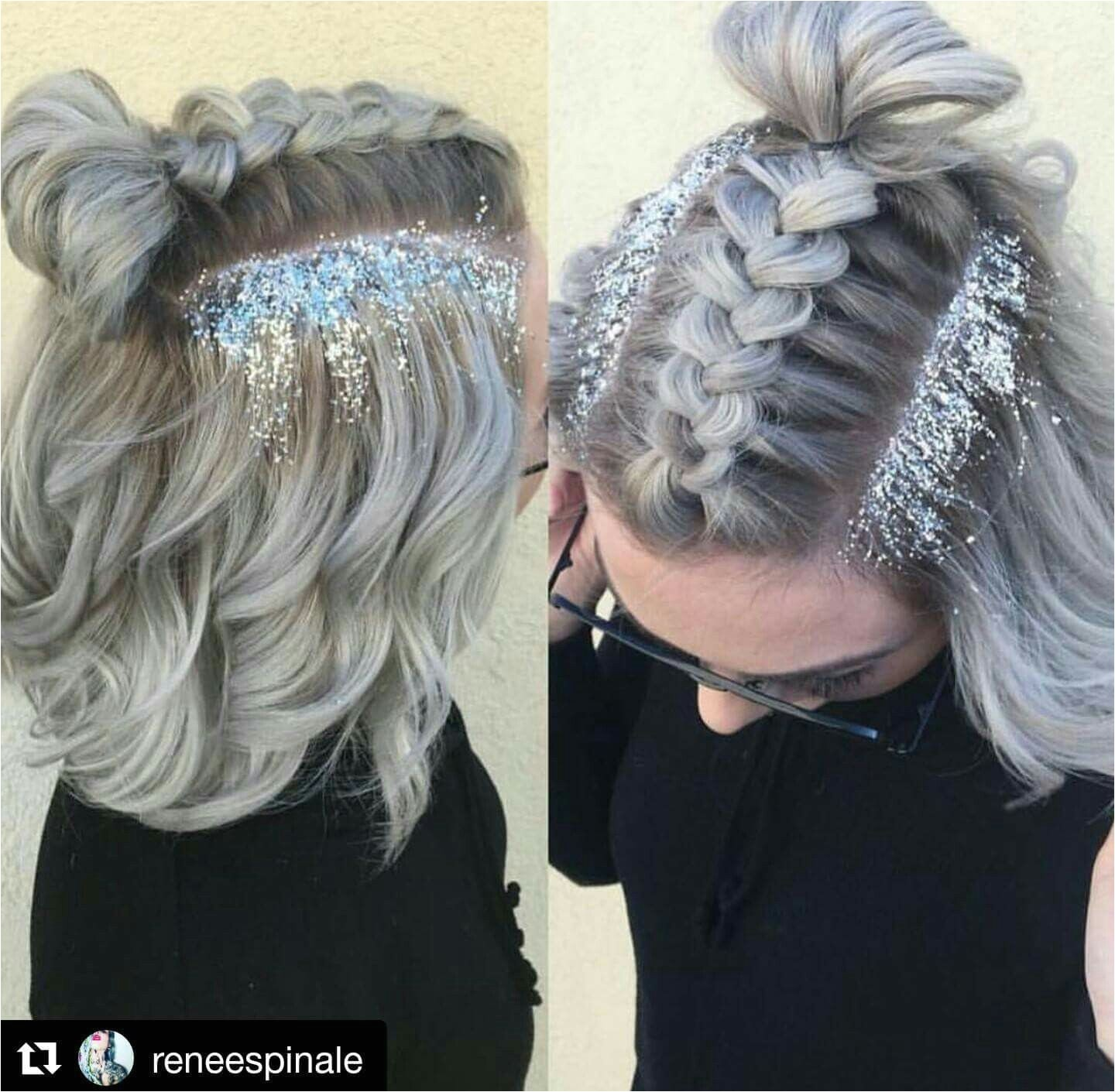 Hairstyle Ideas for Raves Luxury Glitter Roots and Braid Hair Nails Makeup Skin