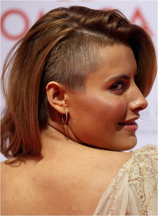 bob haircut with shaved side