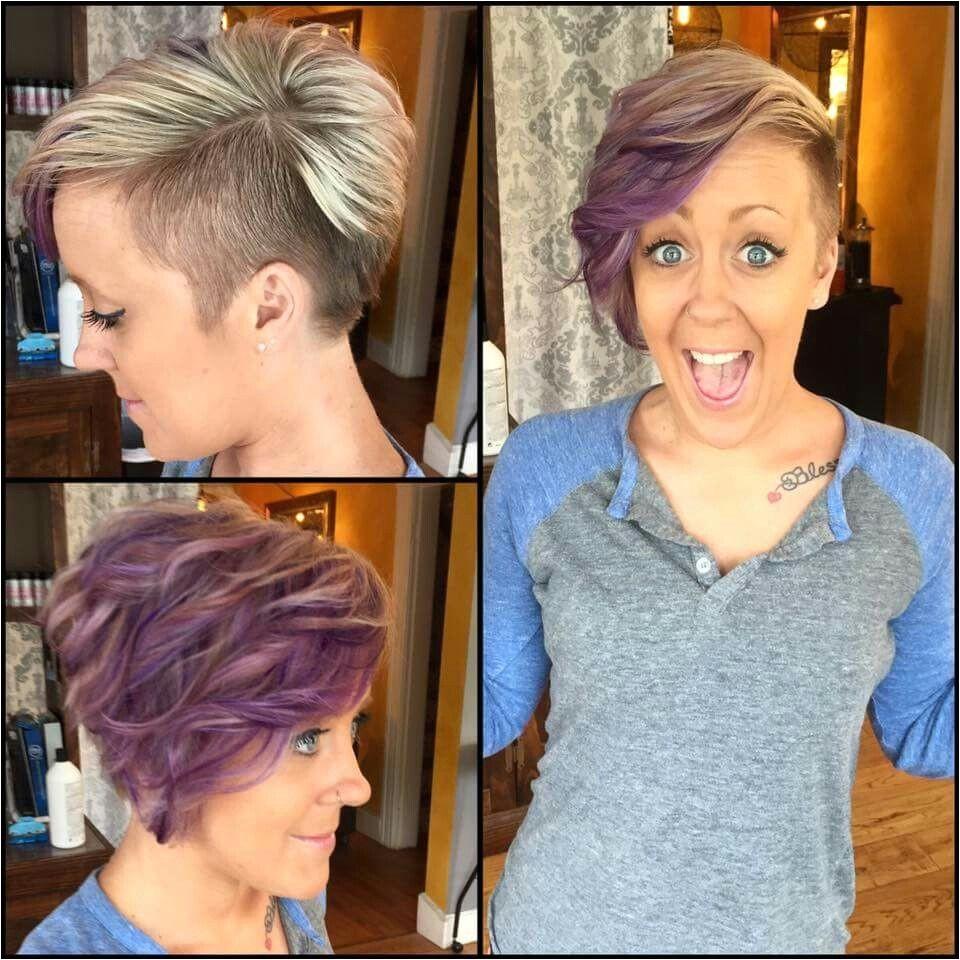 Purple highlights side shave