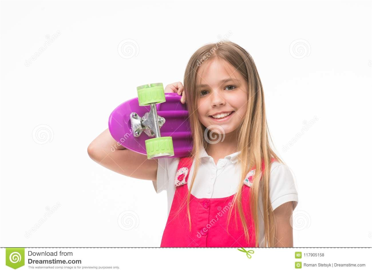 Child skater smiling with longboard Born to be a skater girl Small girl smile