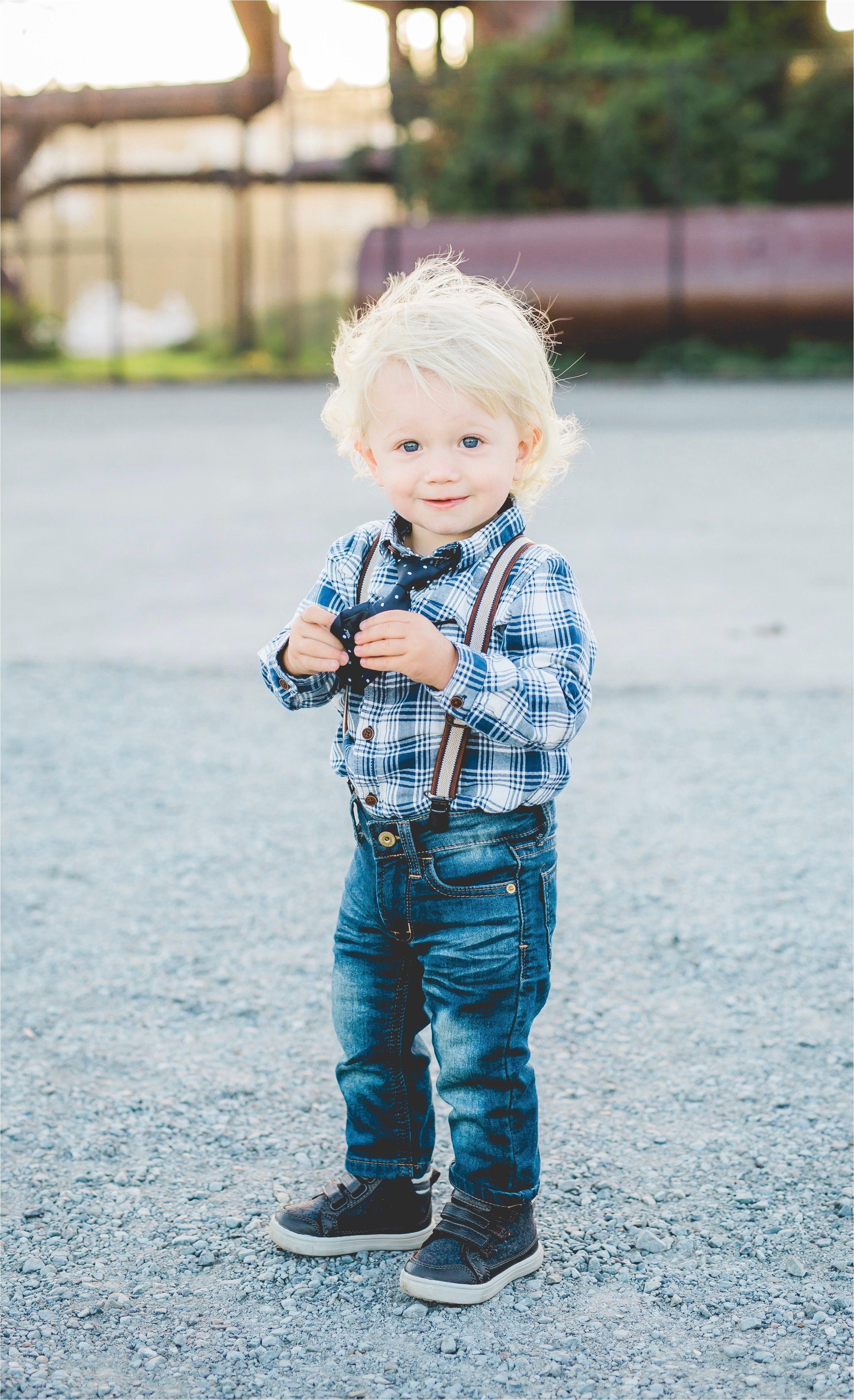 Toddler boy style skinny jeans tie suspenders blonde curly hair plaid
