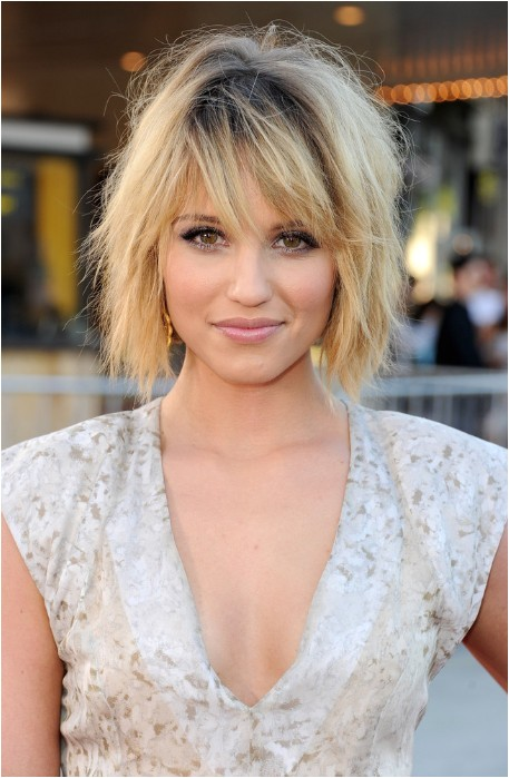 dianna agron tousled layered bob hairstyle with bangs