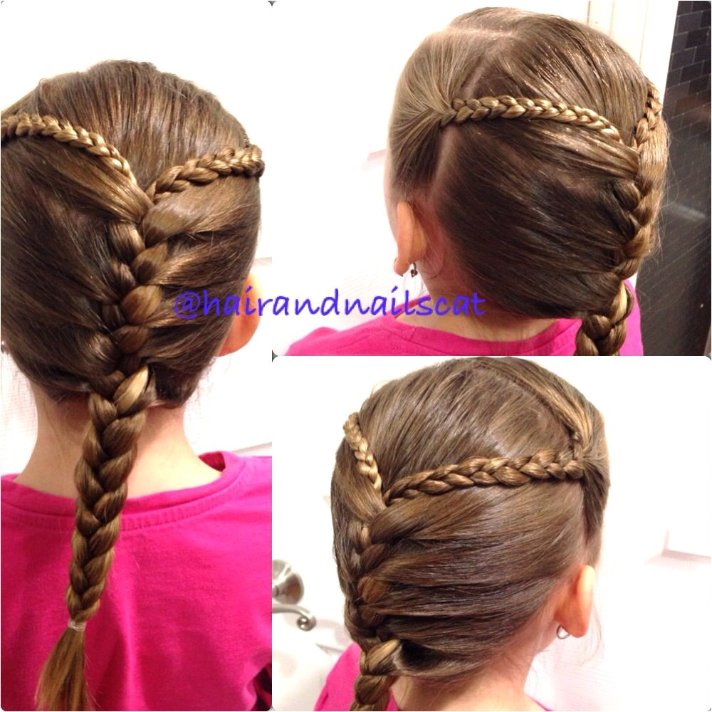 Two three strand braids into a French braid