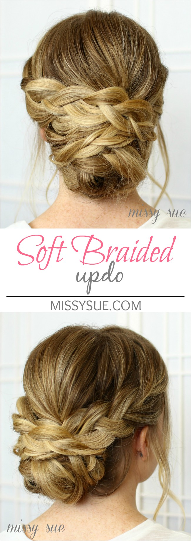 soft braided updo bridal hairstyle