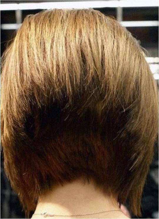 back view of 45 degree short wedge bob haircut