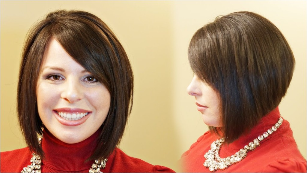 a line bob hairstyles how to cut a stacked a line aline haircut tutorial youtube