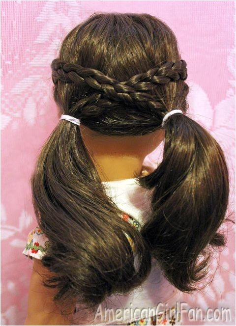 American Girl Doll Hairstyles for Long Hair Easy Cross Over Pigtails Doll Hairdo Pinterest