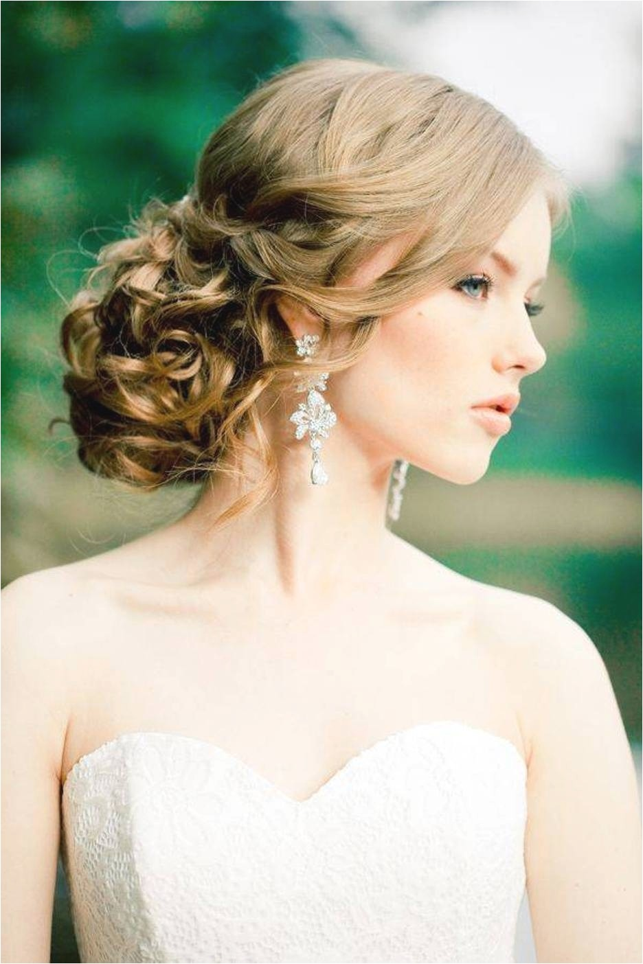 wedding hairstyles for long hair strapless dress