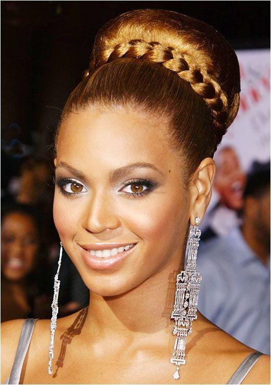beyonces braided bun hairstyle