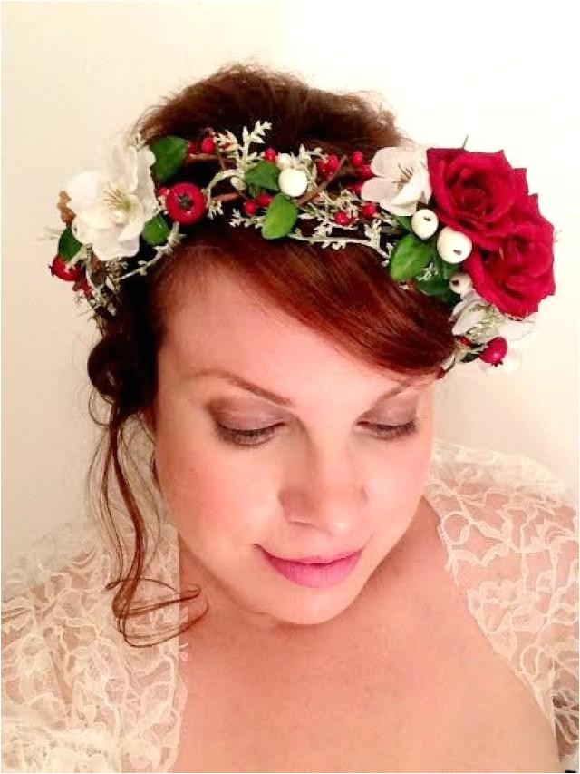 christmas flower crown flower crown christmas crown winter weddings red rose hair accessory holly berry hairwreath circlet hair