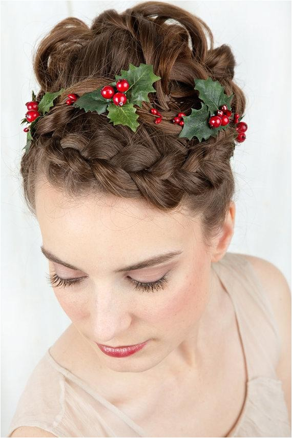 holiday hair accessories holly hair clip christmas hair clip girls christmas headband holly berries hair accessory flower garland new