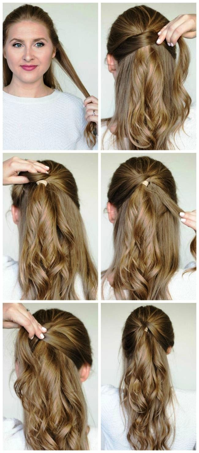 easy party hairstyles for long hair step by step for women