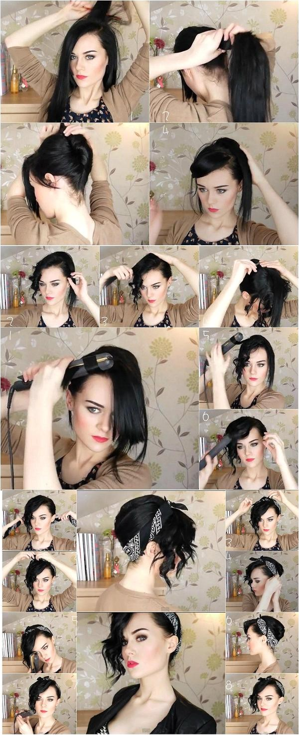 easy updo using bandana
