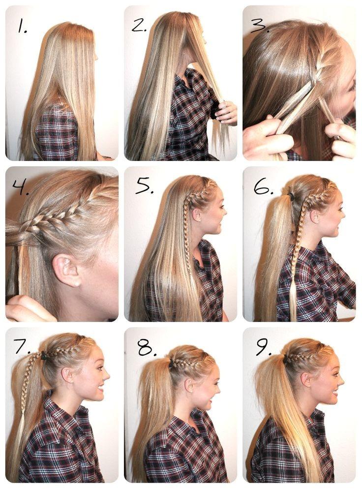 Easy Cheerleading Hairstyles Braided High Ponytail Tutorial Hair Pinterest