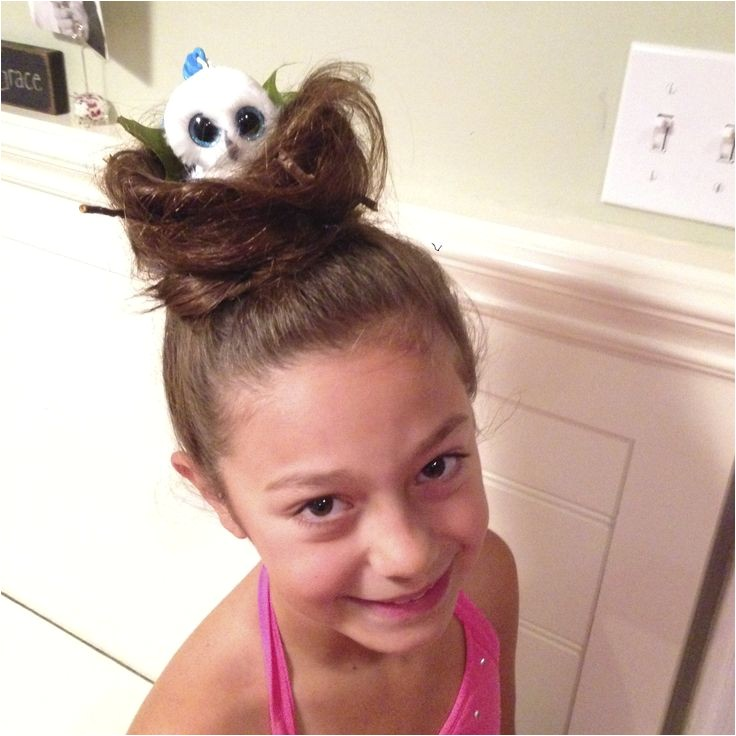 Easy Crazy Hairstyles for Crazy Hair Day Crazy Hair Day Bird Nest with Beanie Boo Owl In It so