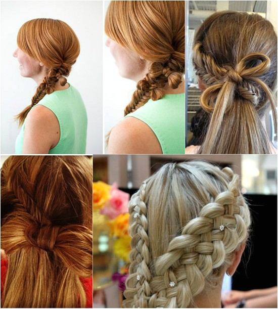 fishtail braided bow ponytail