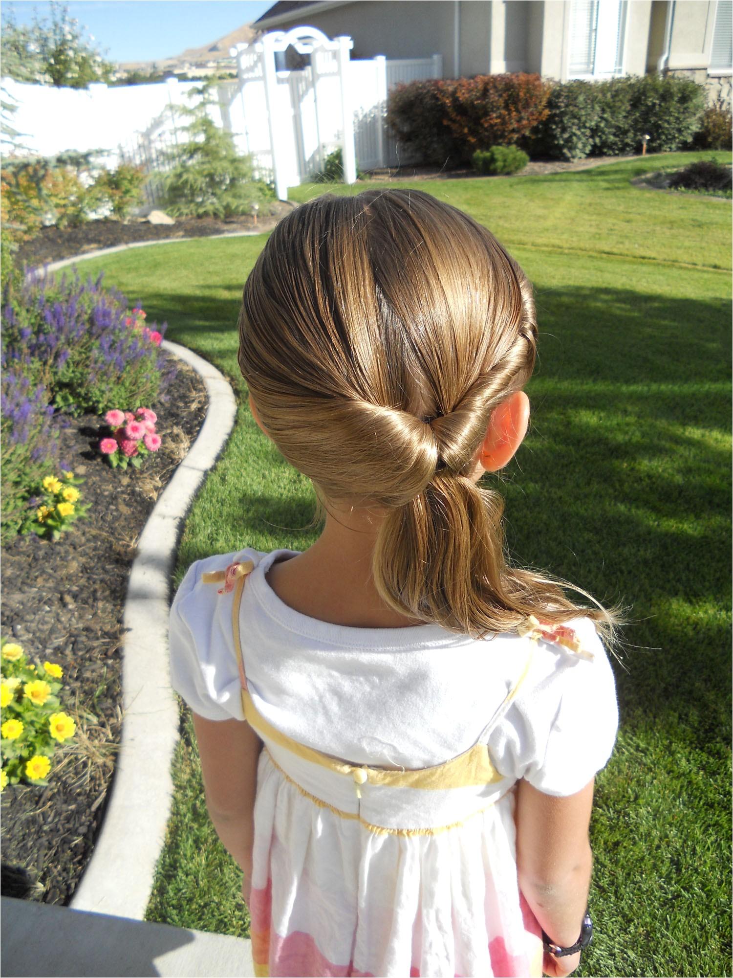 girls hairstyles cute twistback flip under