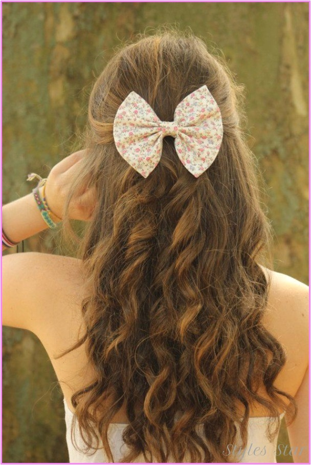 cute hairstyles long curly hair school