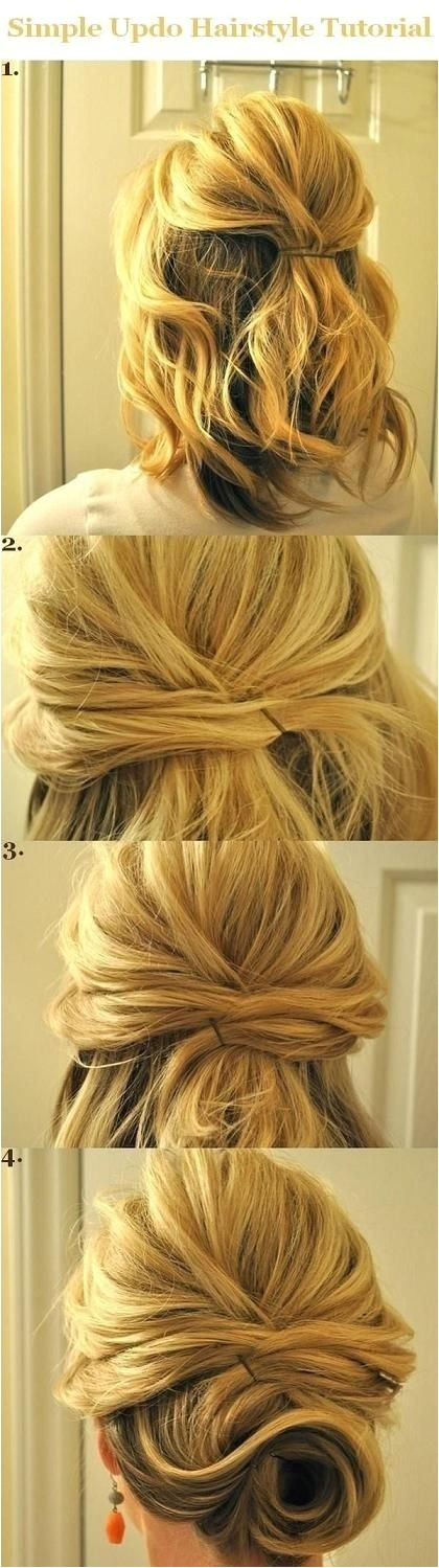 Easy Hairstyles for Medium Length Hair Tutorial Updo Hairstyles Tutorials for Medium Hair Simple Half