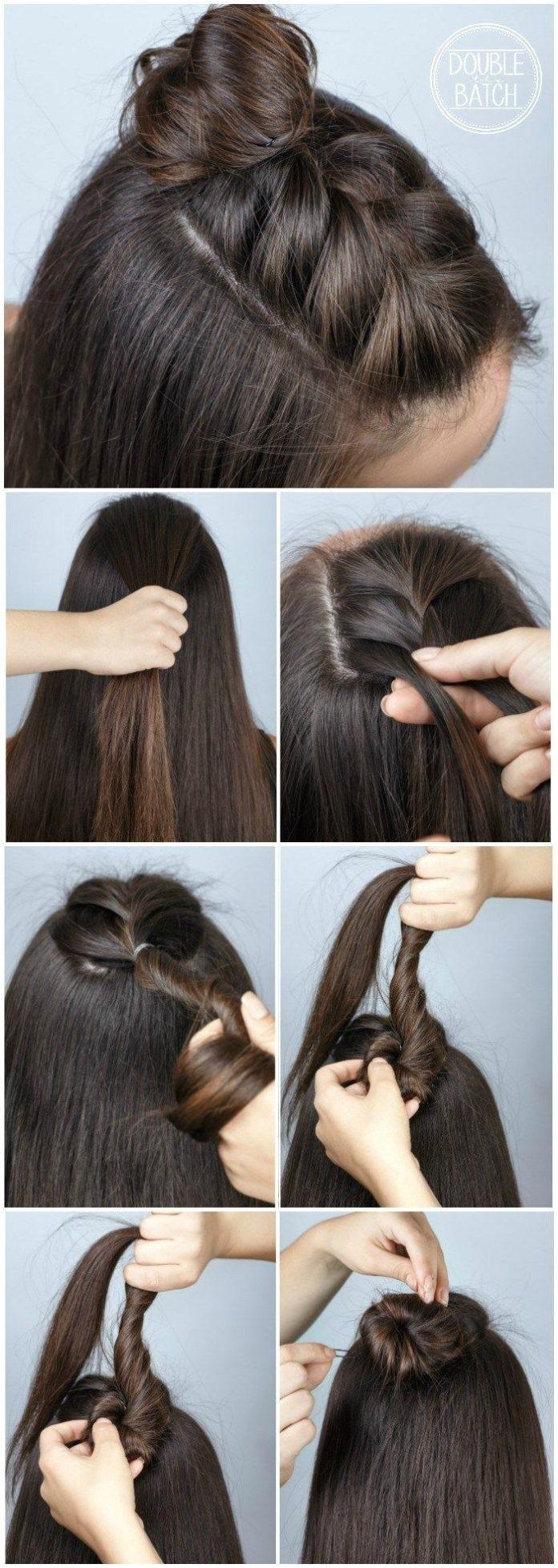 easy hair ideas for school braid bun