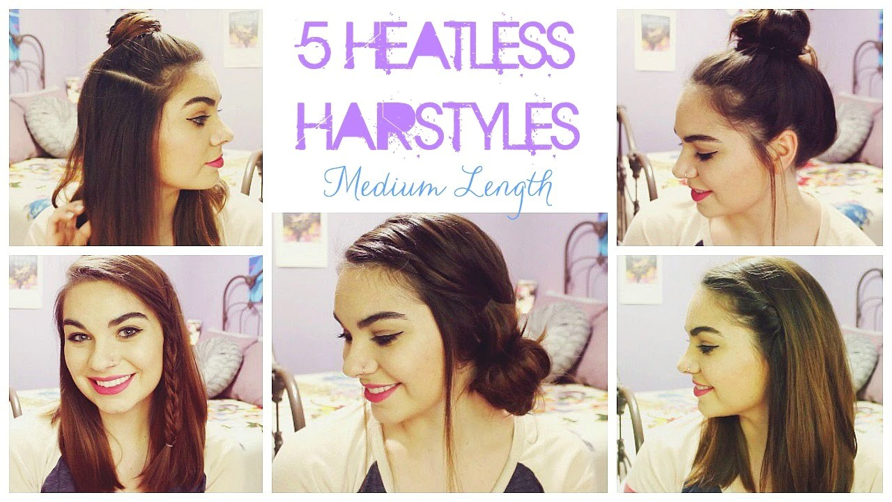 Easy Hairstyles for Shoulder Length Hair without Heat 5 Heatless Hairstyles for Summer Medium Length Hair