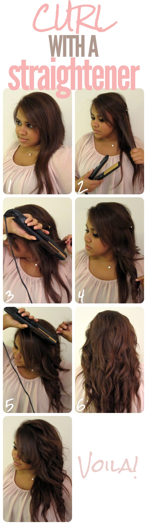 ideas for how to curl long hair with a straightener