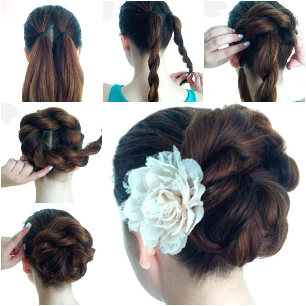 how to diy easy twist double rope bun updo hairstyle