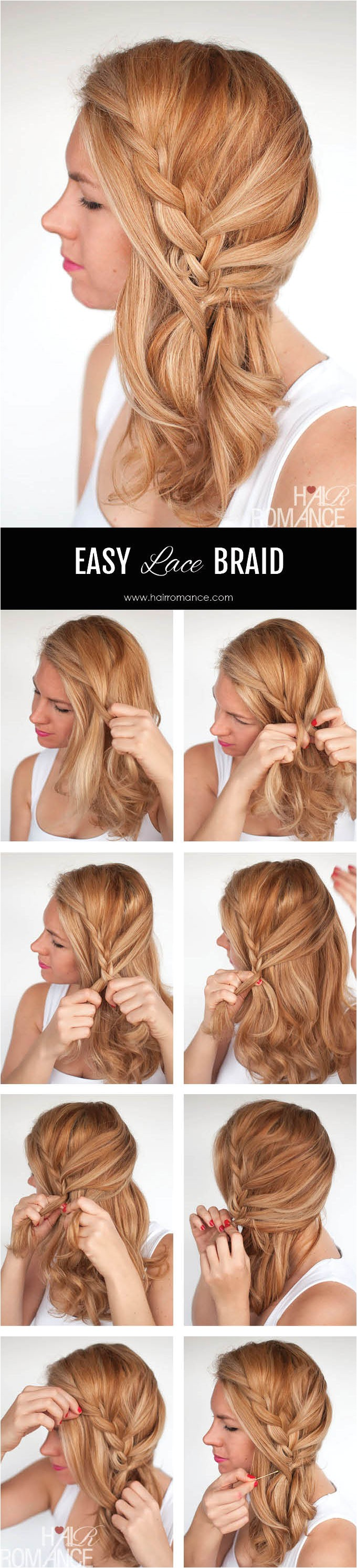 easy lace braid the side swept hairstyle tutorial