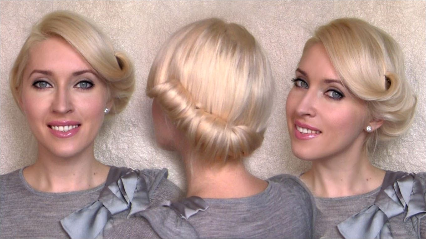 side swept rolled updo hairstyle for medium short hair tutorial charlize theron vintageretro twist