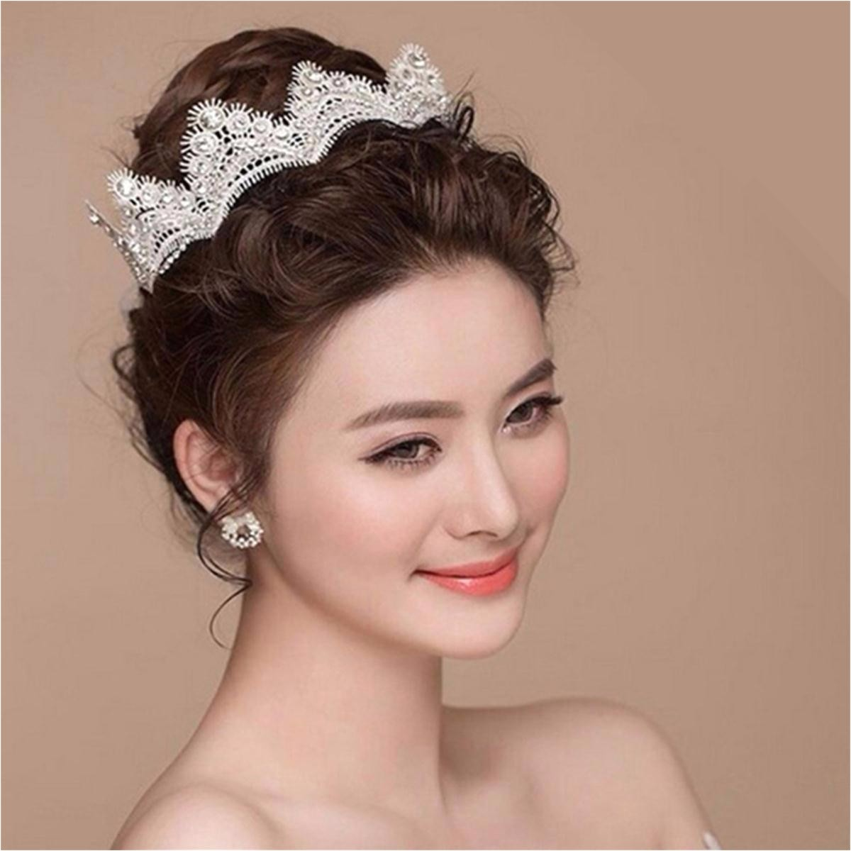 bride crystal lace crown headpiece gothic wedding bridal hair chain party accessories