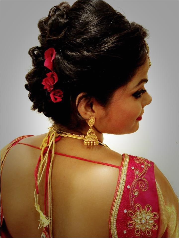 Hairstyle On Saree for Wedding 1