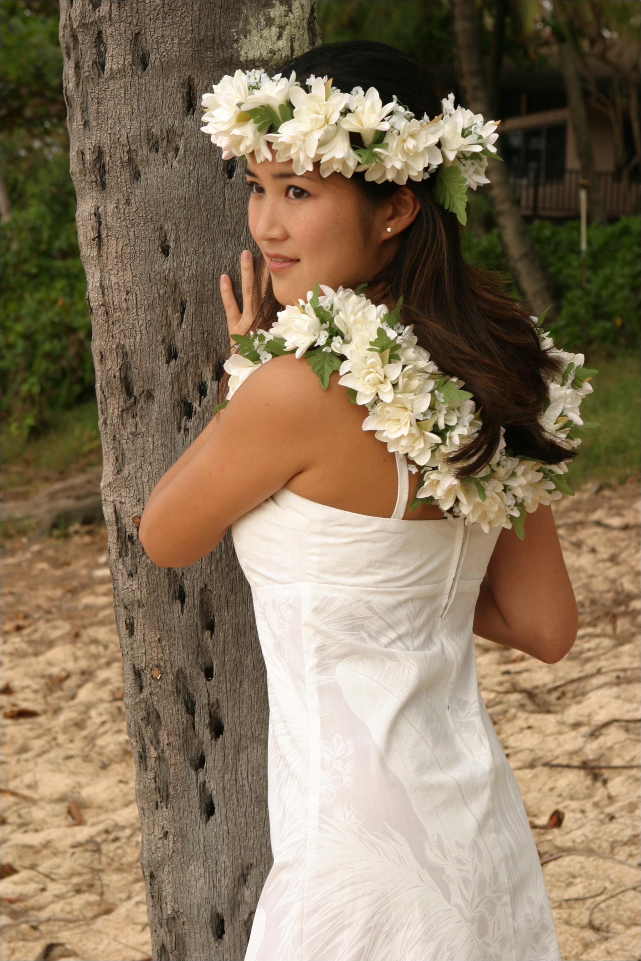 hawaiian wedding hair style