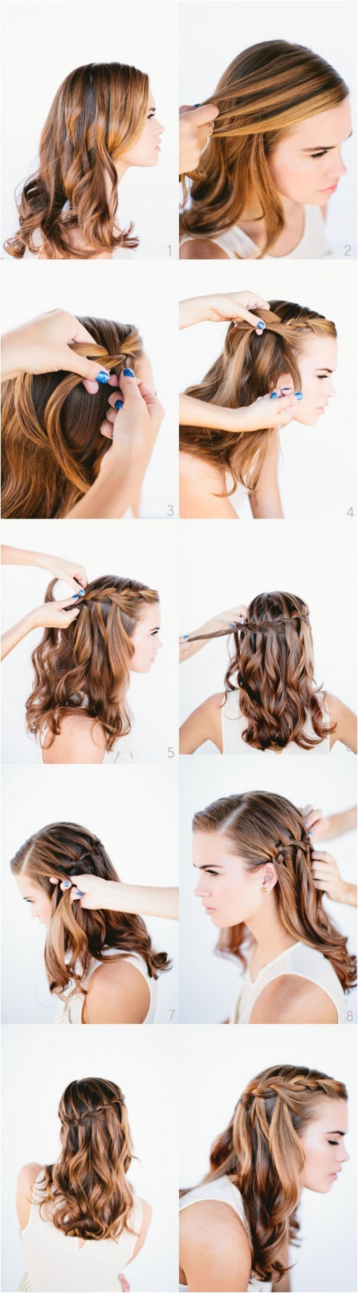 how to do waterfall braid wedding hairstyle for long hairs step by step diy tutorial instructions