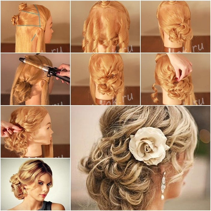 hhow to make red carpet looking updo wedding hairstyle