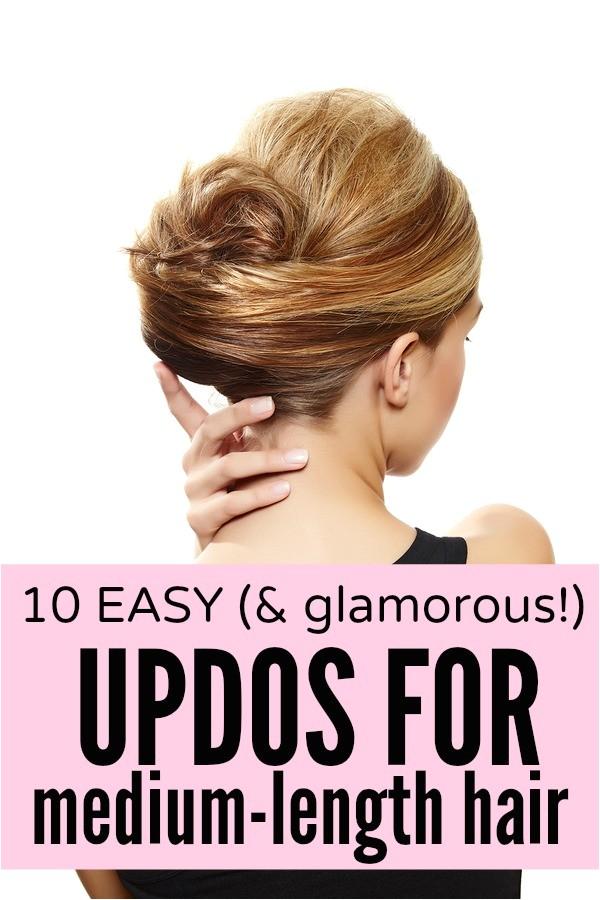 10 easy glamorous updos for medium length hair