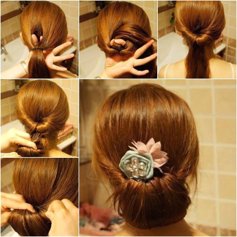 diy easy twisted hair bun hairstyle